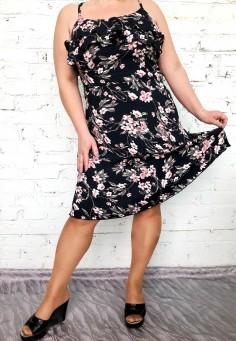 5556/3 Платье цветы розовые 46-54