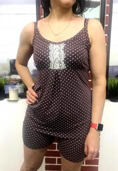 5602 Комплект (пижама) 46-54 горох коричневый